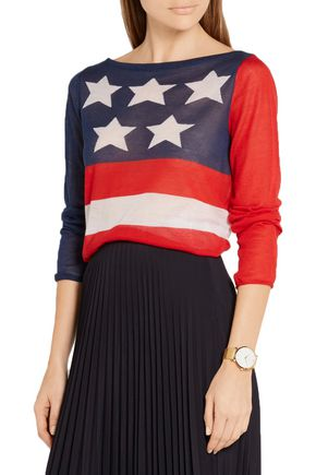 MARC JACOBS Intarsia cashmere and silk-blend sweater