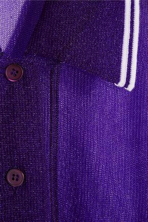 MIU MIU Wool-trimmed mesh polo shirt