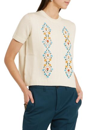 MIU MIU Embroidered cable-knit wool sweater