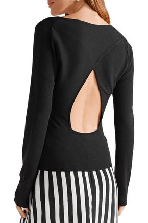 TOME Cutout wrap-effect ribbed wool top