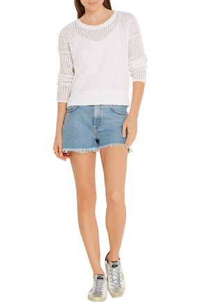 JAMES PERSE Open-knit cotton and linen-blend sweater