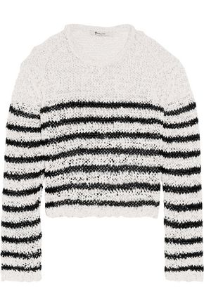 T by ALEXANDER WANG Cropped striped open-knit sweater