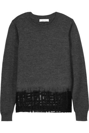 MILLY Mesh-paneled wool sweater