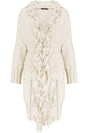 MAJE Fringed knitted cardigan