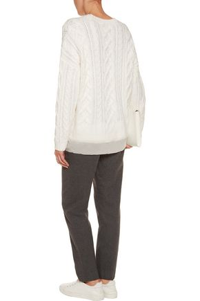 DKNY Tulle-trimmed cable-knit sweater