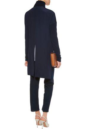 TIBI Asymmetric paneled merino wool and silk-crepe turtleneck sweater