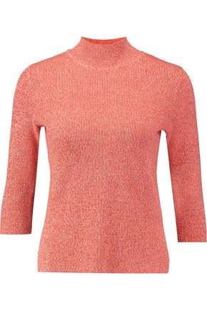 GANNI Ribbed cotton-blend jersey turtleneck top
