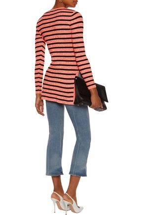GANNI Striped ribbed cotton-blend sweater