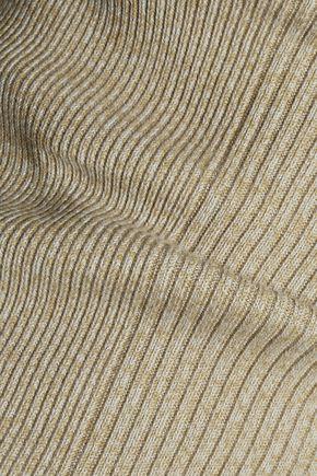 GANNI Ribbed cotton-blend top