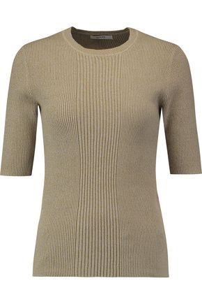 GANNI Ribbed cotton-blend top
