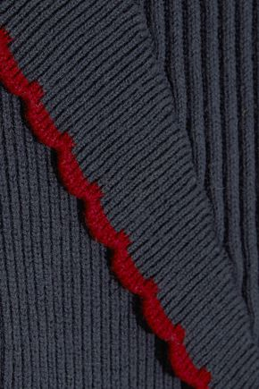 GANNI Harrison scalloped cotton-blend top
