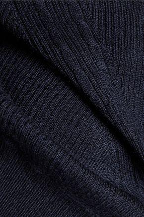 DIANE VON FURSTENBERG Open knit-paneled merino wool and silk-blend sweater