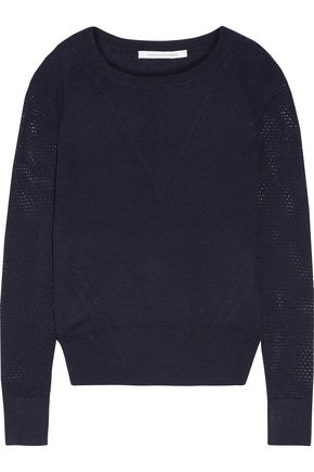 DIANE VON FURSTENBERG Orla open knit-paneled wool and silk-blend sweater