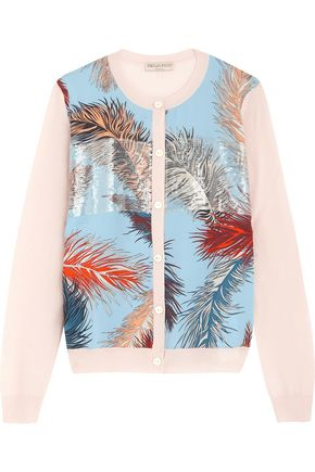 EMILIO PUCCI Printed silk-paneled wool cardigan
