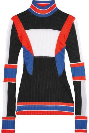EMILIO PUCCI Color-block ribbed-knit turtleneck sweater