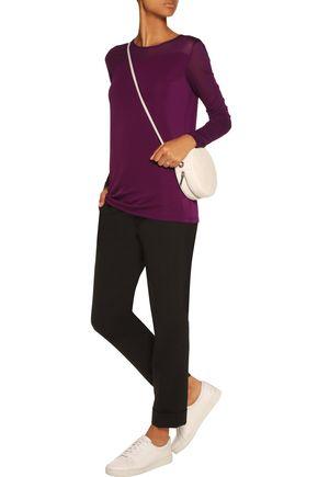 DKNY Paneled stretch-jersey top