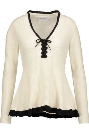 DEREK LAM 10 CROSBY Lace-up ruffled cotton and cashmere-blend peplum sweater