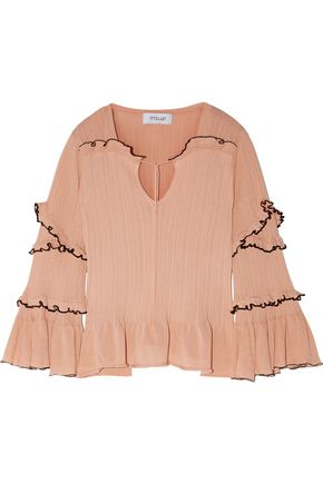 10 CROSBY DEREK LAM Ruffled ribbed cotton sweater
