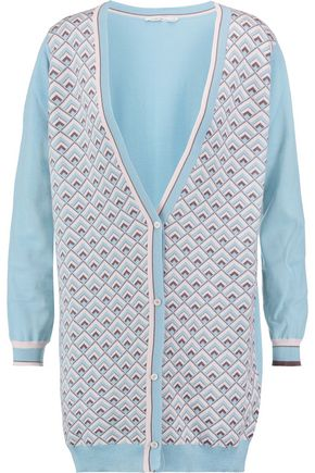 AGNONA Intarsia-knit cashmere and silk-blend cardigan
