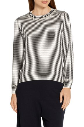 A.P.C. Flynn pointelle-trimmed striped cotton and cashmere-blend sweater
