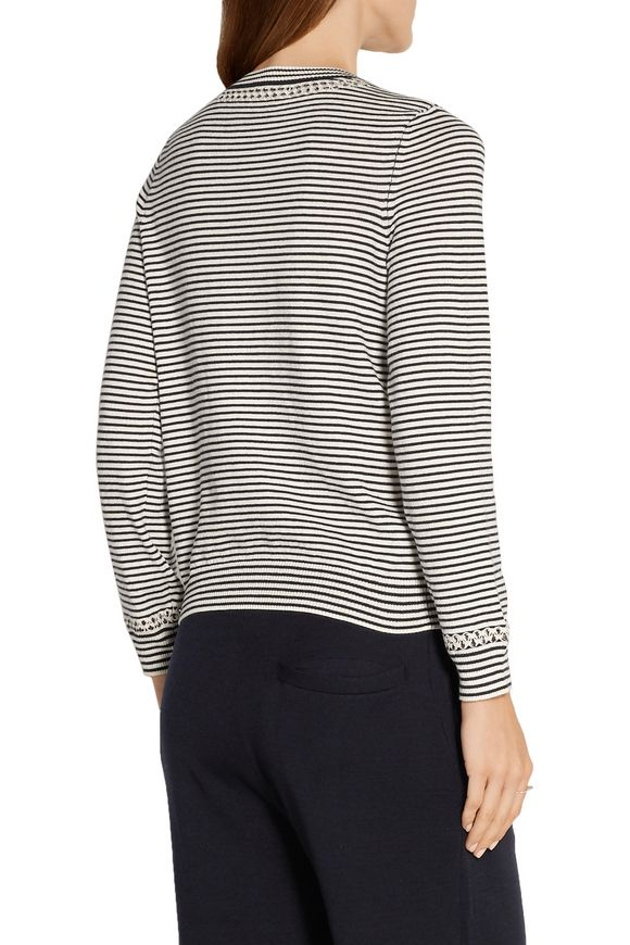 Flynn pointelle-trimmed striped cotton and cashmere-blend sweater | A.P.C.  | Sale up to 70% off | THE OUTNET
