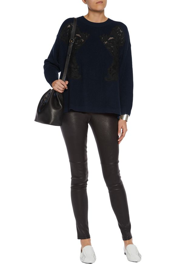 Appliquéd cable-knit wool-blend sweater   SANDRO Paris   Sale up to 70% off    THE OUTNET