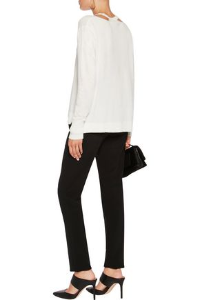 HALSTON HERITAGE Cutout stretch-knit sweater