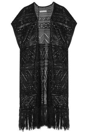 ALICE + OLIVIA Dru pointelle-knit linen-blend kimono