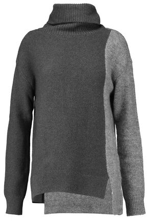 BAILEY 44 Paneled cotton-blend and knitted turtleneck sweater
