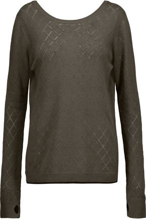 L'AGENCE Agustina open knit-trimmed stretch-knit sweater