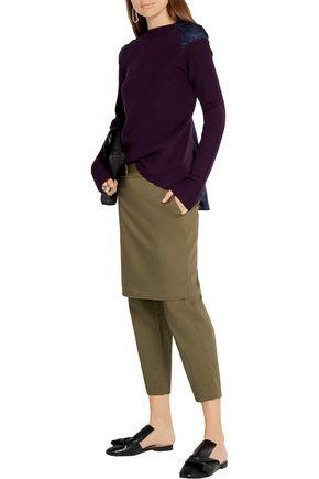 SACAI Satin-paneled ribbed cotton sweater
