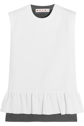 MARNI Two-tone wool-blend crepe and jersey peplum top