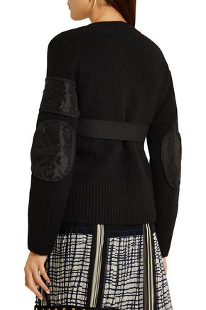SACAI Paneled ribbed wool cardigan