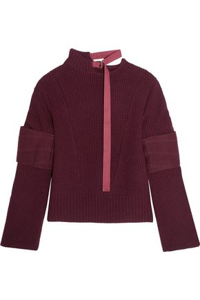 SACAI Felt-paneled wool sweater