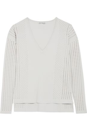 AUTUMN CASHMERE Pointelle-knit-paneled jersey top