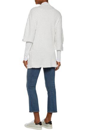 SPLENDID Metallic striped ribbed-knit cardigan