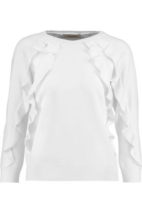 VALENTINO Ruffled stretch-jersey sweater