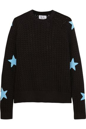 ZOE KARSSEN Appliquéd open-knit cotton sweater