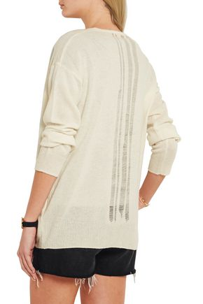RAQUEL ALLEGRA Distressed merino wool and cashmere-blend cardigan