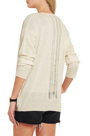 RAQUEL ALLEGRA Distressed merino wool and cashmere-blend cardigan