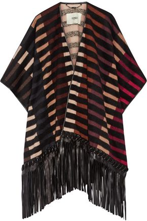 FENDI Fringed leather-trimmed striped camel hair-blend cape