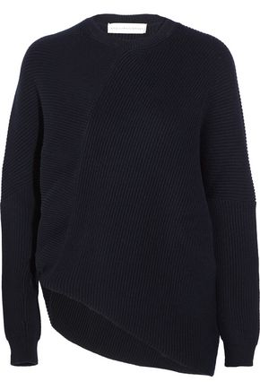 STELLA McCARTNEY Asymmetric ribbed-knit wool sweater