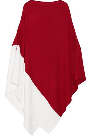 VICTOR ALFARO Color-block ribbed wool poncho