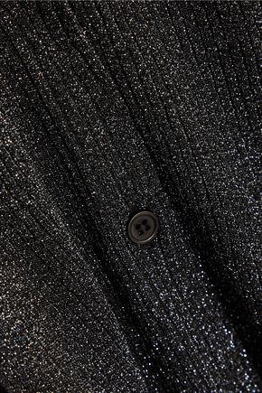 OPENING CEREMONY Metallic ribbed stretch-knit cardigan
