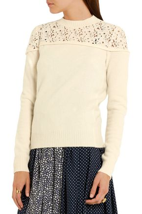 PHILOSOPHY di LORENZO SERAFINI Lace-paneled wool sweater