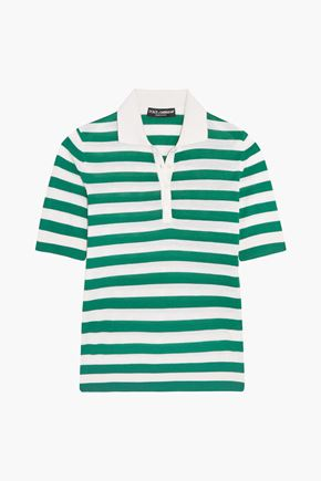 DOLCE & GABBANA Striped cashmere and silk-blend polo shirt