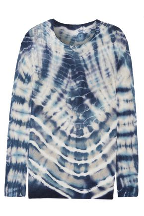 RAQUEL ALLEGRA Distressed tie-dyed merino wool and cashmere-blend sweater