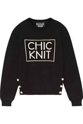 BOUTIQUE MOSCHINO Faux pearl-embellished intarsia wool sweater
