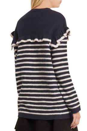 REDValentino Ruffled striped wool-felt sweater