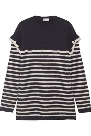 REDValentino Ruffled striped wool-felt sweater